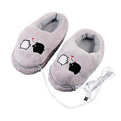 Cute Grey Piggy Plush USB Foot Warmer Shoes Electric Heat Slipper USB Gadget Free Shipping Wholesale(China (Mainland))