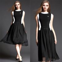 New Arrival 2015 Fashion Black and White Color Sleeveless Medium-long One-piece dress Summer Dress Party Dresses Plus size