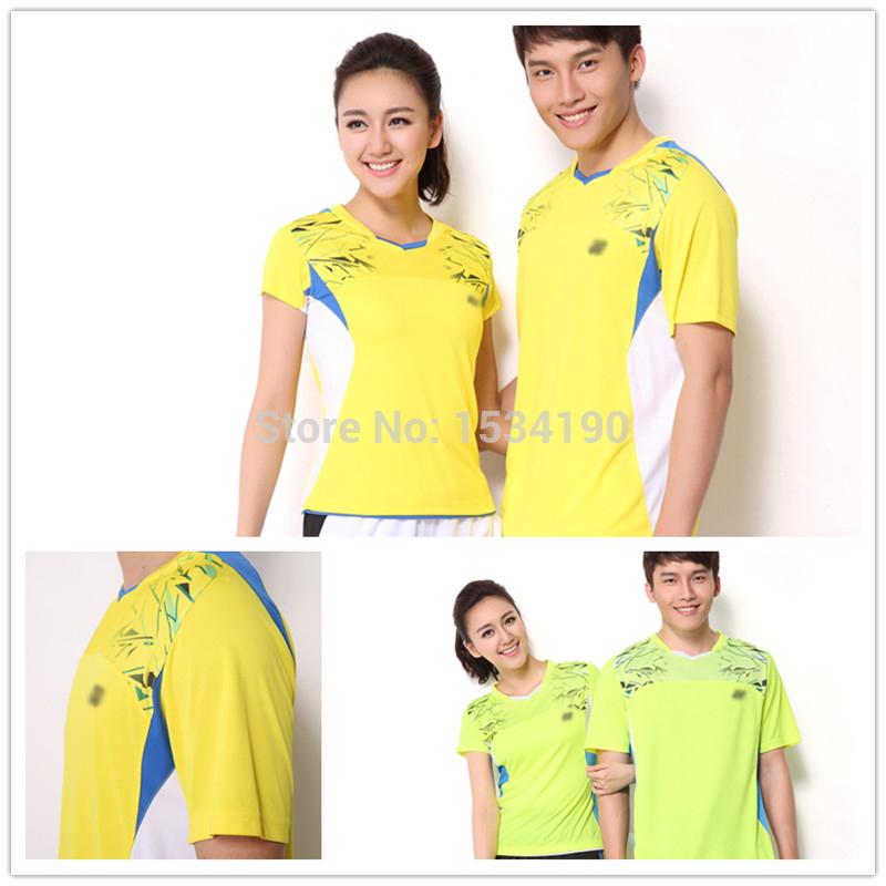 2015 Fashion Polyester Badminton Sport shirt Men's and Women's Quick Dry Table Tennis tshirt 12074EX(China (Mainland))