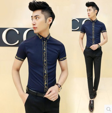 2015 Fashion Cool Men Slim Fit Casual Party Prom Front Embroidery Club Shirts Free Shipping CS138(China (Mainland))