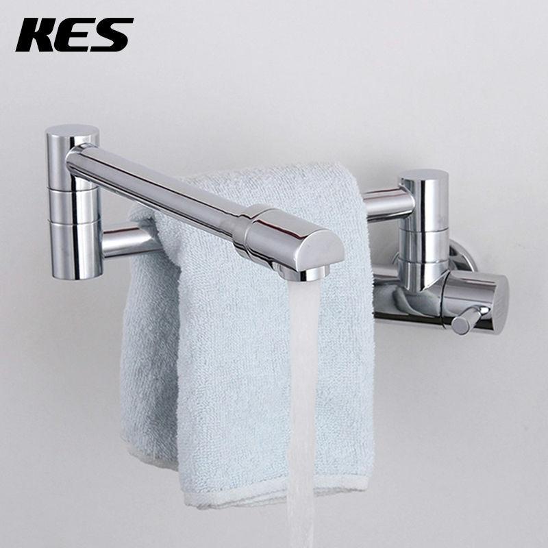 KES K920 Brass Single Handle Pot Filler Faucet Swing Spout Wall Mount, Polished Chrome(China (Mainland))