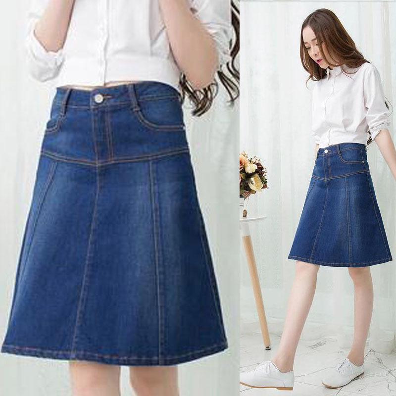 fall casual vintage womens blue denim skirt 2015