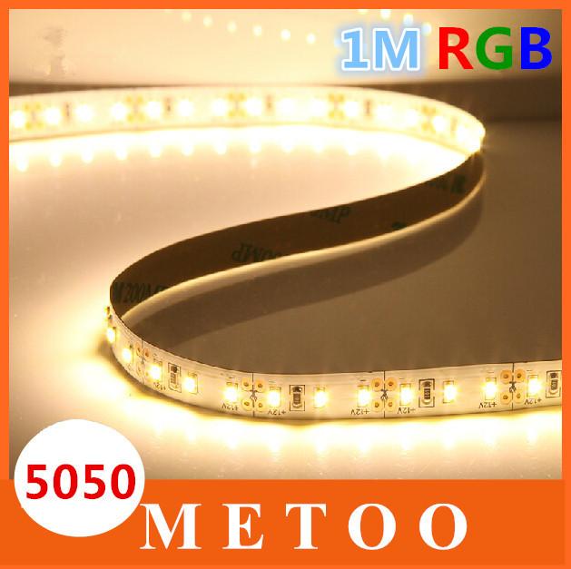 1M RGB Led Strip Light 5050 SMD 60Led/M DC 12V Led Tape Flexible Light White/Warm white/Red/Blue/Green Brighter Than 3528(China (Mainland))