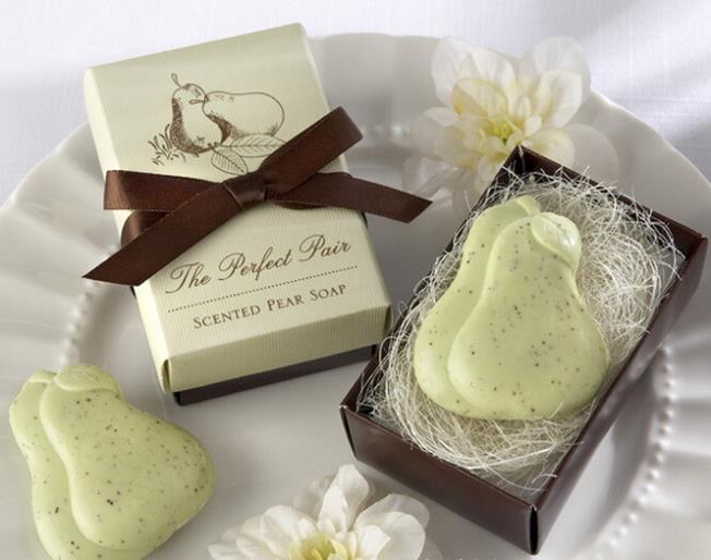 10pcs Lovely Beige Pear Shaped Soap Gift Box Wedding Soap Wedding Souvenirs Handmade Soap Decorative Wedding Christmas Gift(China (Mainland))