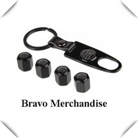 4caps/set cars accessaries  wheel tire tyre valve caps black Leather buckle covers with volvo car logo brands emblem badge