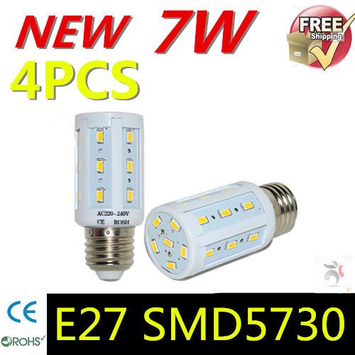 2015 High Quality E27 7W AC 220V 240V 24LEDs High Lumen 5730 SMD Corn Bulb Energy Efficient lights Chandelier lamps 4pcs/lot(China (Mainland))