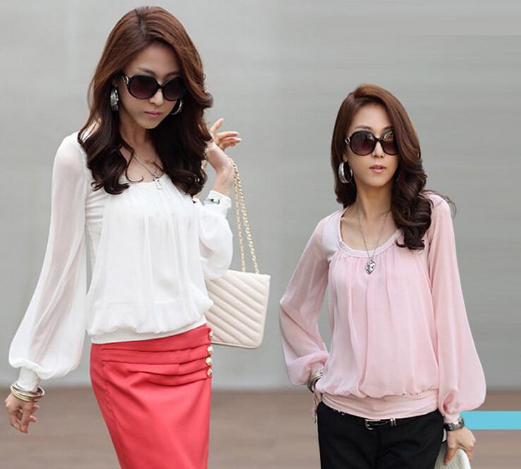 2015 Womens Chiffon Blusas Blusas Tops Blusa Manga Longa Camisa Femininas Camisete camisas Haut Dentelle Plus Size Mujer HTHNCS1(China (Mainland))