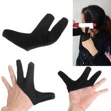 Best Price 1PC High Quality Three fingers design Hair Strag Hairdressing Heat Resistant Finger Glove Black Straightening Curling