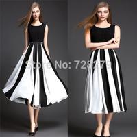 2015 Spring Summer DRESS Women Dresses Fashion Medium-long Patchwork 100%Polyester O-Neck Plus size L XL