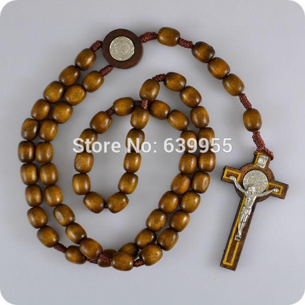 NEW Brown wood Rosary Beads INRI JESUS Cross Pendant Necklace Catholic Fashion Religious jewelry
