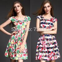 2015 Summer DRESS Fashion Short-sleeve slim O-neck 3D Print Women's Dresses Plus size L XL Bandage dress