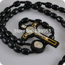 NEW Black wood Rosary Beads INRI JESUS Cross Pendant Necklace Catholic Fashion Religious jewelry
