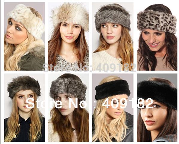 2014 NEW Fashion Ladies Women's Winter Plush Faux Fur Headband Hat Ear Warmer+(China (Mainland))