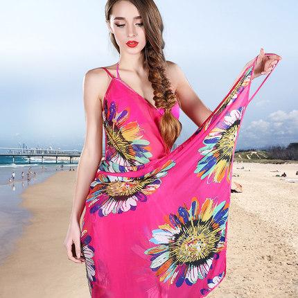 2015 Real Print Polyester Bathing Suit Cover Ups Beachwear Summer Dress Chiffon Scarf Long New Korean Dual Sun Beach Towel(China (Mainland))