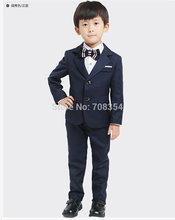 2015 neuankömmling hight qualität elegante mode Komfort blume dunkelblau jungen hochzeitsanzug/Junge' s Leistung Kleidung 196(China (Mainland))