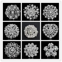 10 unids/lote Broches para la boda Bijoux boda Broches moda Vintage Women Rhinestone flores cristal broche broche Broches prendedores(China (Mainland))