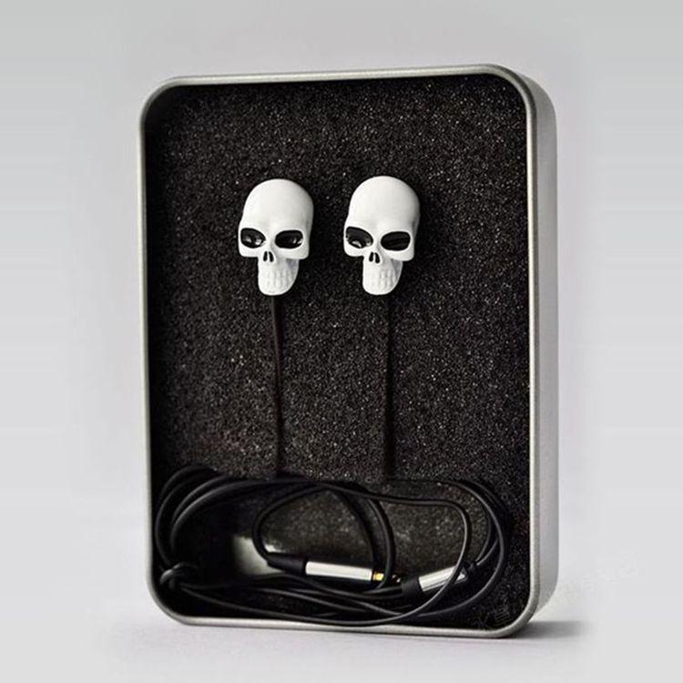 Sell Like hot Cakes 3.5mm Retail New White Skull Design Earplugs Earphone & Mic For Sony Xperia Z3 mini(China (Mainland))