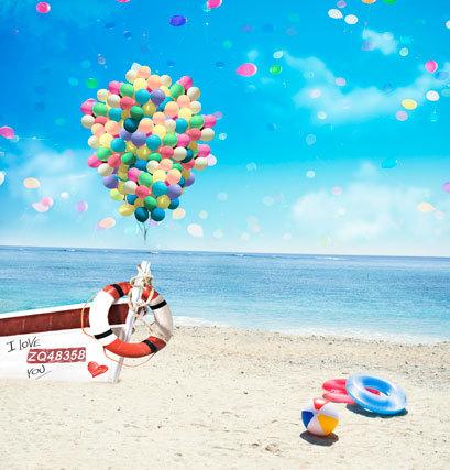 8x8FT Colors Balloons Sky Sea Beach Life Ring Boat Love You Custom Photography Studio Backgrounds Backdrops Prints Vinyl 10x10(China (Mainland))