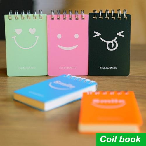 2015 Portable Smile Coil Notebooks Spiral Diary Book Mini Notebook Agenda Caderno Escolar Office School Supplies(China (Mainland))