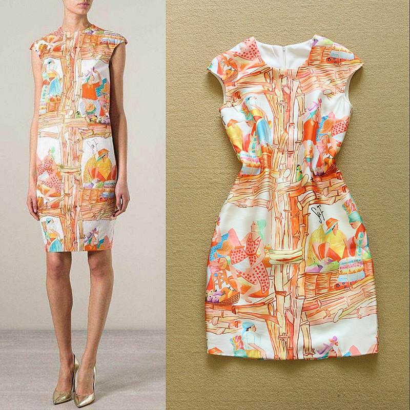 2015 Summer New Fashion Women Simple abstract Character Casual Print Slim Dress(China (Mainland))