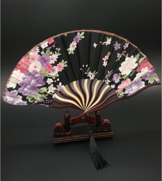Elegant Lady Silk Fans Bamboo Folding Hand Dancing Summer Wedding Party Decor Tassel Fan(China (Mainland))