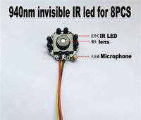 1/4 cmos 600TVL Mini CMOS Color IR Camera CCTV security Camera 3.6mm Flat cone pinhole Lens cmos camera 940nm IR 8pcs led