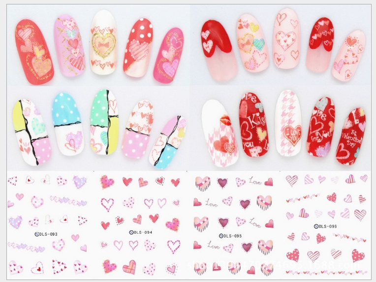 Japan Fashion Water Transfer Foils Nail Art Sticker Love Heart Design Manicure Wraps Decor Decals Minx Nail Polish Stickers(China (Mainland))
