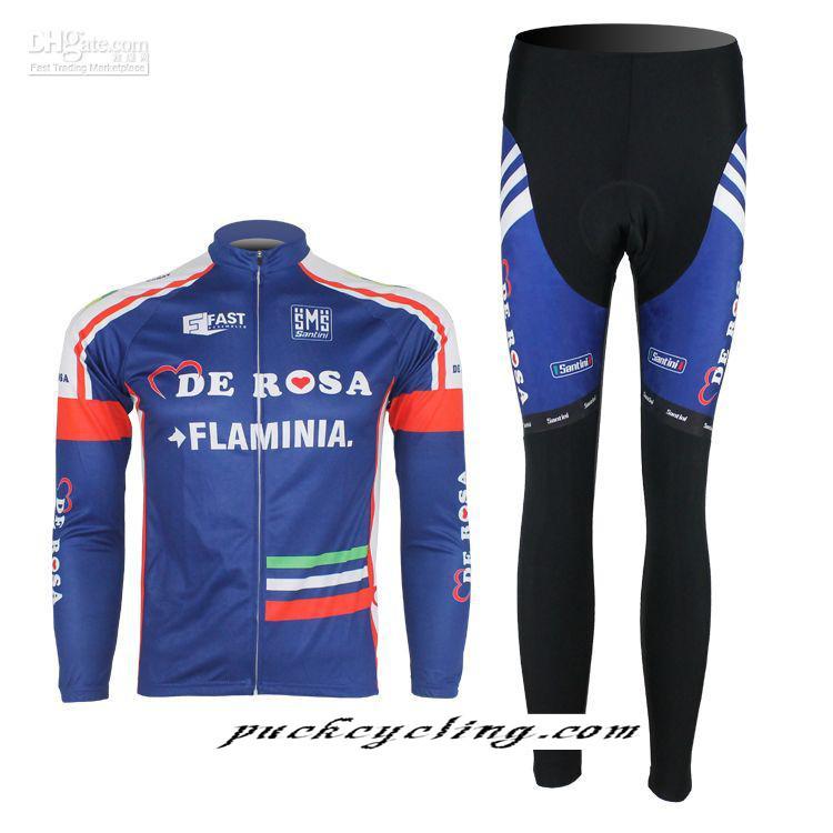 Wholesale Free shipping! DE ROSA FLAMINIA team long sleeve autumn cycling wear clothes bicycle bike riding Cycling Jersey(China (Mainland))
