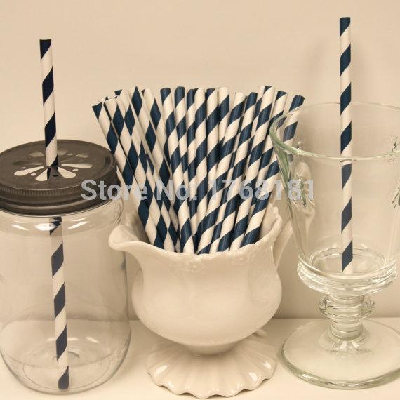 200pcs Stripe Paper Straws Navy blue Paper Drinking Straws Birthday Party Wedding Anniversary Christmas(China (Mainland))