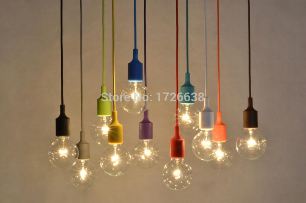 Modern pendant light 18 colors silica gel pendant lamp vintage edison hanging lamp for living room bed room tom dixon(China (Mainland))