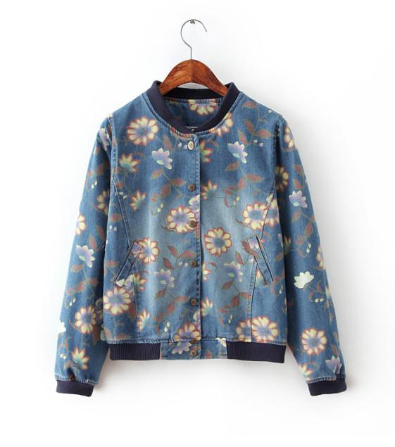 15 Spring Women Korean women washed denim jacket baseball flower print blouse collar single-breasted jacket women free shopping(China (Mainland))