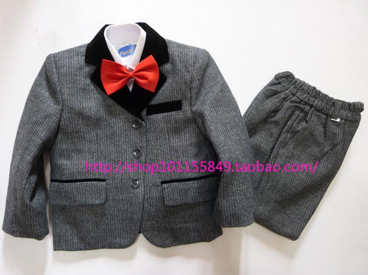 SALE ! Boys Formal Dress Suit Vest Pant Bowtie Shirt 5Pcs Kids Prom Popular Kid Blazers Costumes Baby Clothing Set 100-155cm(China (Mainland))