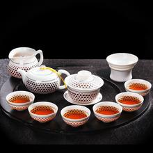 Drinkware 9pcs Blue and White Tea Sets White Tea Cup Teapot Ceramic Gaiwan Tea infuser  Kung Fu Tea Set Drinkware High quality