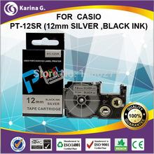 Compatible tape for Casio  XR-12SR Black on Silvery 12mm 8m Label Tape KL7000 XR-12SR1