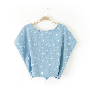 Женщин шеи кнопку назад пентаграмма печать рукава летучая мышь джинсовая рубашка новый летний рубашка XY1860