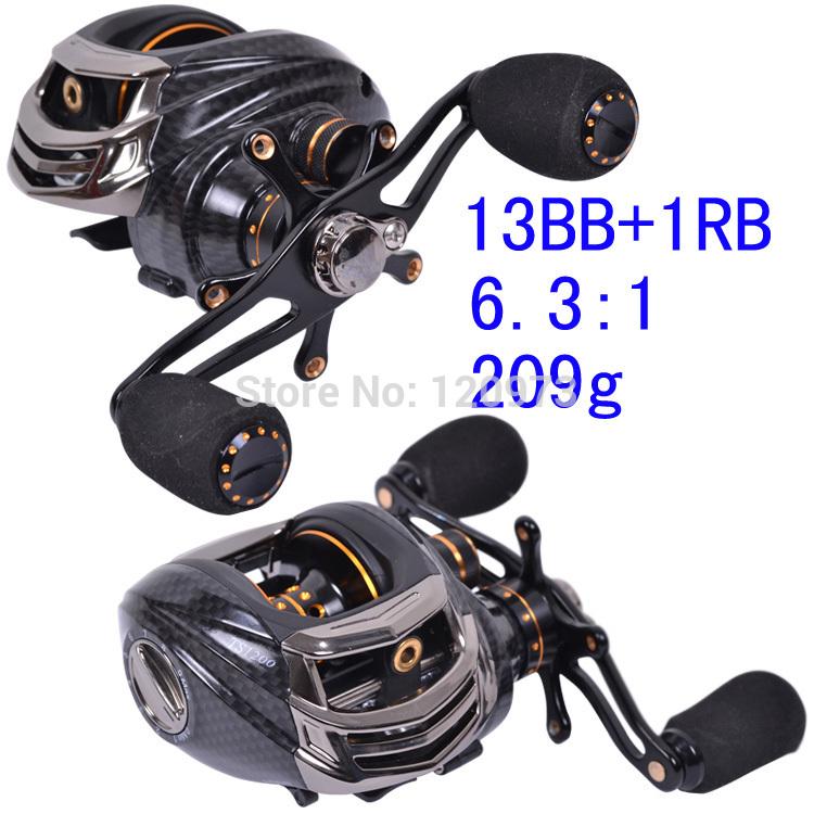 Trulinoya TS1200 14BB 6.3:1 Baitcasting Reel Casting Reel Baitrunner Fishing Gear Right/Left Hand Bait Cast Reels Black Red(China (Mainland))