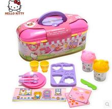 Kawaii Hello Kitty Non-toxic Odor Flour Quality Cake Mold Plasticine And Tool Kit Girl Kitty Play Toy Set(China (Mainland))