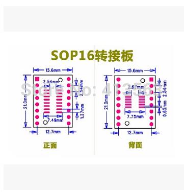 5pcs/lot SOP16 SSOP16 TSSOP16 SOP TO DIP 0.65/1.27mm IC adapter Socket / Adapter plate / PCB 30642(China (Mainland))