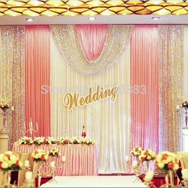 3m high x6m long white and pink sequin diy wedding stage party backdrop decoration drapes with ice silk(China (Mainland))