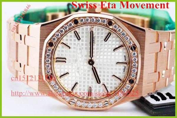 Top quality Brand Gift box Luxury Ladies Quartz 33mm Rose Gold Sapphire mirror Lady's Watch SPORTS Watches(China (Mainland))