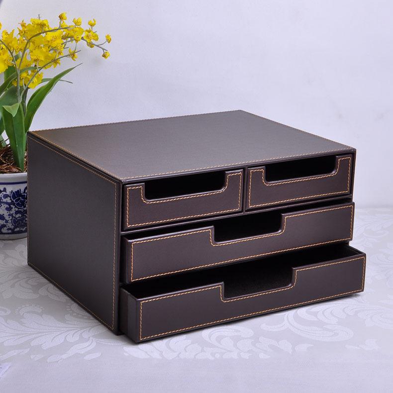 Masaomi Shi-grade leather desktop file storage box drawer storage box creative finishing cabinet office supplies(China (Mainland))