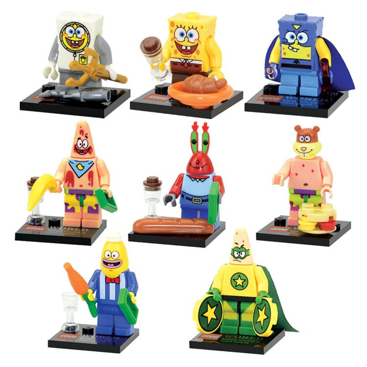 8Pcs/set Spongebob DIY Minifigures Kids Toys Patrick Star Minifigure Building Block Compatible With Lego Children Block Toys(China (Mainland))