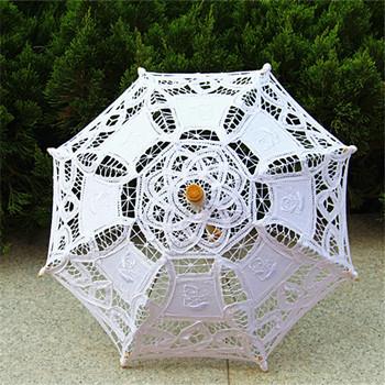 2015 Beige Handmade Cotton Battenburg Lace Parasol Bridal Wedding Umbrella Sombrinha Sombrilla Chinas Encaje Wedding Decoration(China (Mainland))
