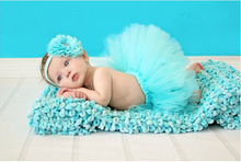 Fashion Newborn Photography Props Big Flower Girls tulle Tutu Skirt & Headband Baby ball gown and hair accessories TS006(China (Mainland))