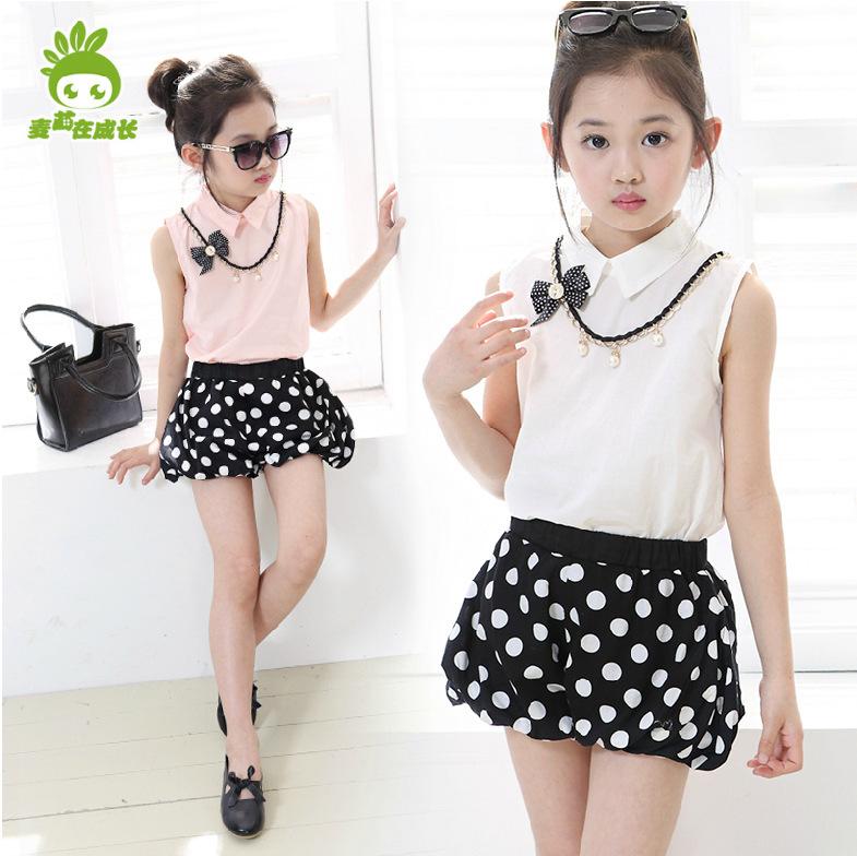 Girls Spring Clothes 2015 New Summer Girls Fashion Polka Dot Sleeveless Vest Pullover Chiffon shirt Sport Suit Children's Sets(China (Mainland))