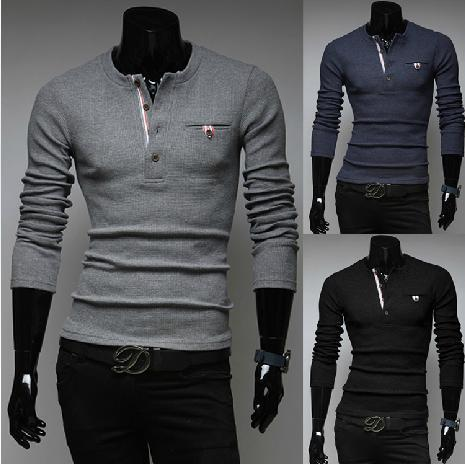 product 2015 new male models. Harmonia placket splicing men's casual sweaters