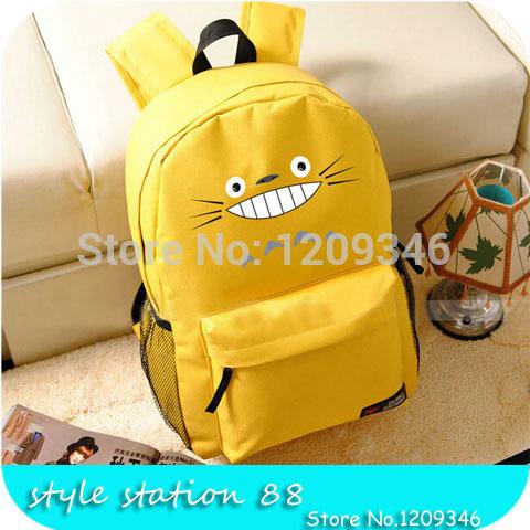 2015 New Japanese Anime Cute Tonari no Totoro Chinchilla Printing backpack Women Backpack Candy Color Canvas backpack(China (Mainland))