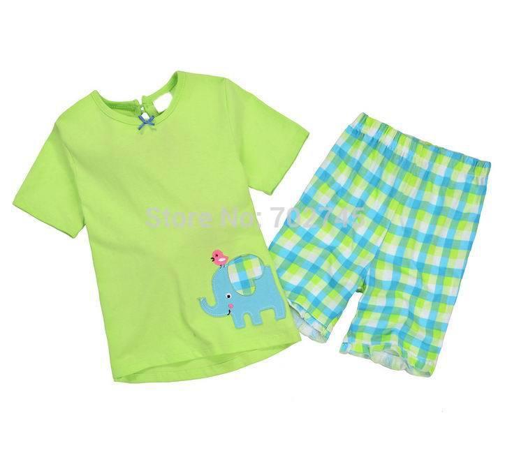 2015 New Summer Boy Sets Elephant Green Short Sleeve T-shirt+ Plaid Shorts Children 2 Piece Set 1-6Y 2410(China (Mainland))