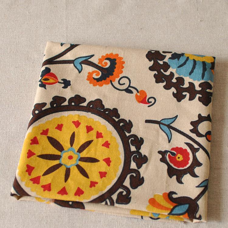 Lucky flower cloth fluid blending table cloth fluid, sunflower linen and cotton blend fabric,145cm width,145*100cm size(China (Mainland))
