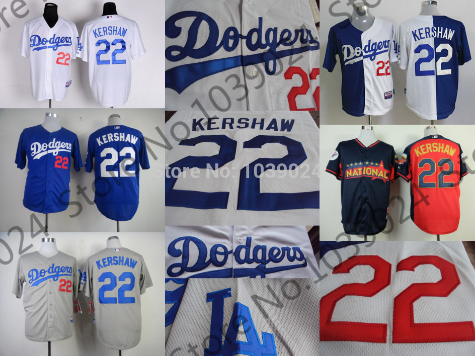 Los Angeles Dodgers 22 Clayton Kershaw Jersey Blue White Gray C. Kershaw Baseball Jersey LA Dodgers Split Mix Order(China (Mainland))